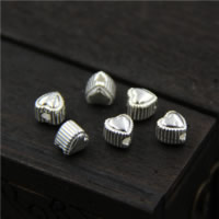 925 Sterling Silber Perlen, Herz, 5x5mm, Bohrung:ca. 1.6mm, 10PCs/Menge, verkauft von Menge