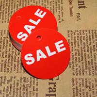 Papier Label- Tag, flache Runde, mit Brief Muster & doppelseitig, 45mm, 500PCs/Tasche, verkauft von Tasche
