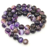Natürliche Streifen Achat Perlen, rund, verschiedene Größen vorhanden, violett, verkauft per ca. 15.5 ZollInch Strang