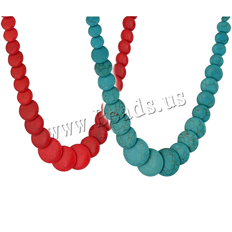 Fashion Turquoise Necklace brass lobster clasp 5cm extender chain Flat Round colors choice 450mm Sold Per Approx 17.5 Inch Strand
