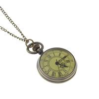 Mode Halskette Uhr, Zinklegierung, mit Glas, flache Runde, antike Bronzefarbe plattiert, Twist oval & gebürstet, frei von Nickel, Blei & Kadmium, 25mm, Länge:ca. 31 ZollInch, 10SträngeStrang/Menge, verkauft von Menge