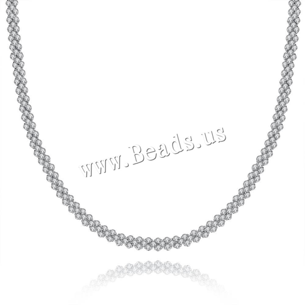 Cubic Zircon Micro Pave Brass Necklace platinum color plated micro pave cubic zirconia & woman nickel lead & cadmium free 450mm Sold Per Approx 17.5 Inch Strand