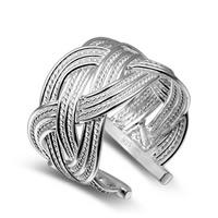 Messing Manschette Fingerring, versilbert, einstellbar & für Frau, frei von Blei & Kadmium, 15mm, Größe:6-8, verkauft von PC