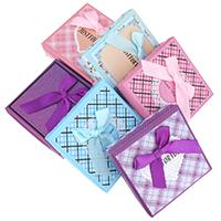 Karton Armbandkasten, mit Kleber Film & Satinband & Baumwolle, Quadrat, gemischtes Muster, 92x92x31mm, 12PCs/Tasche, verkauft von Tasche