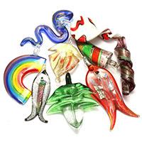 Goldsand & Silberfolie Lampwork Anhänger, Goldfolie und Siberfolie & gemischt, 14-54x57-82x10-15mm, Bohrung:ca. 5-10mm, 3Taschen/Menge, 10PCs/Tasche, verkauft von Menge