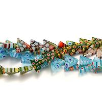 Millefiori Scheibe Lampwork Perlen, Dreieck, mit Millefiori Scheibe, gemischte Farben, 12x13.50x4mm, Bohrung:ca. 0.5mm, Länge:ca. 16 ZollInch, 6SträngeStrang/Menge, ca. 35PCs/Strang, verkauft von Menge