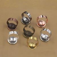 Messing Ringschiene, flache Runde, plattiert, olika innerdiameter, för val, keine, frei von Nickel, Blei & Kadmium, 10-20mm, Größe:6-9, 20PCs/Tasche, verkauft von Tasche