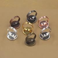 Messing Ringschiene, flache Runde, plattiert, olika innerdiameter, för val & einstellbar, keine, frei von Nickel, Blei & Kadmium, 10-20mm, Größe:6-9, 20PCs/Tasche, verkauft von Tasche