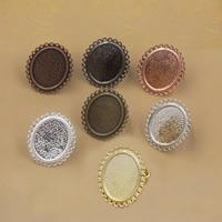 Messing Ringschiene, flachoval, plattiert, einstellbar, keine, frei von Nickel, Blei & Kadmium, 18-25mm, Innendurchmesser:ca. 18x25mm, Größe:6-9, 10PCs/Tasche, verkauft von Tasche