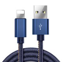 Denim Datenkabel, mit Aluminium, Platinfarbe platiniert, für iPhone SAMSUNG, blau, 1000mm, verkauft von Strang