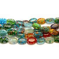 Millefiori Scheibe Lampwork Perlen, flachoval, mit Millefiori Scheibe, gemischte Farben, 12-13x8-9x4mm, Bohrung:ca. 0.5-1mm, Länge:ca. 15 ZollInch, 10SträngeStrang/Menge, ca. 33PCs/Strang, verkauft von Menge
