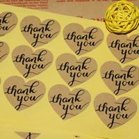 Abdichten von Aufkleber, Kraftpapier, Herz, Wort-Danke, klebrig, frei von Nickel, Blei & Kadmium, 32x38mm, 100SetsSatz/Tasche, 12PCs/setzen, verkauft von Tasche