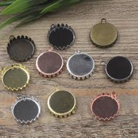 Messing Anhänger Cabochon Einstellung, flache Runde, plattiert, olika innerdiameter, för val, keine, frei von Nickel, Blei & Kadmium, 15-25mm, Bohrung:ca. 1.5mm, 20PCs/Tasche, verkauft von Tasche