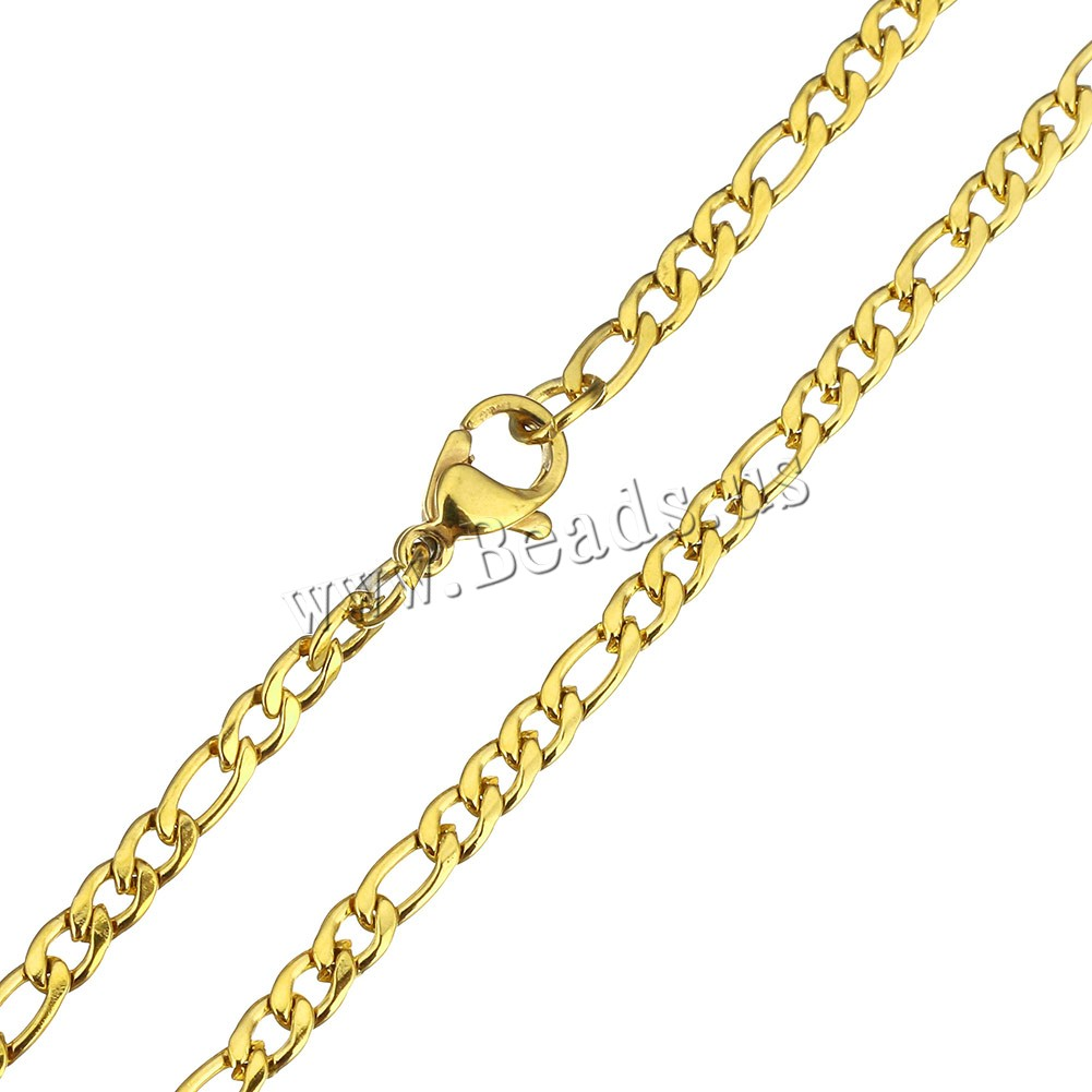 Buy Stainless Steel Chain Necklace gold color plated figaro chain 6x3x1mm 5x3x1mm Length:Approx 29.5 Inch 5Strands/Lot Sold Lot