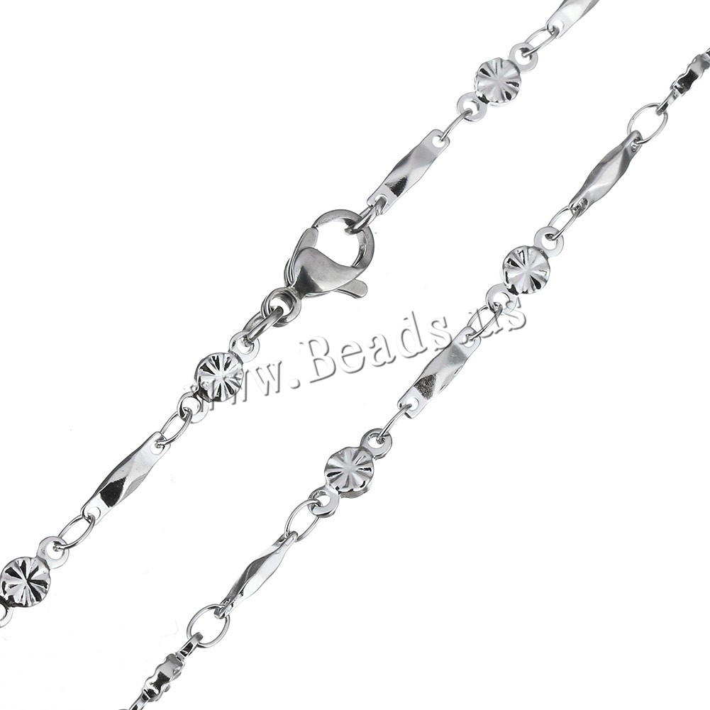 Stainless Steel Chain Necklace grooved cut original color 8.5x2x2mm 8x3.5x1.5mm Sold Per Approx 17 Inch Strand