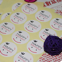Aufkleberpapier, Papier, flache Runde, Wort Happy Birthday Day, Mit smileygesicht & klebrig, 30mm, 100PCs/Tasche, verkauft von Tasche