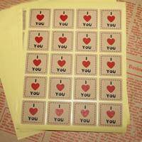 Abdichten von Aufkleber, Kraftpapier, Quadrat, Wort ich liebe dich, klebrig, 25x25mm, 100SetsSatz/Tasche, 20PCs/setzen, verkauft von Tasche