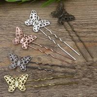Haarstock-Befunde, Messing, mit Eisen, Schmetterling, plattiert, keine, frei von Nickel, Blei & Kadmium, 75x1.2mm, 20PCs/Tasche, verkauft von Tasche