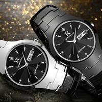 ONTHEEDGE®-Männer-Schmuck-Uhren, Wolfram Stahl, mit Glas & Edelstahl, plattiert, 30 m wasserdicht & für den Menschen & mit Strass, keine, frei von Nickel, Blei & Kadmium, 38x8mm, Länge:ca. 7.4 ZollInch, verkauft von PC