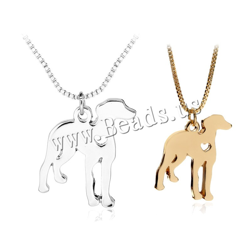 Zinc Alloy Jewelry Necklace 1.9lnch extender chain Dog plated box chain & woman colors choice nickel lead & cadmium free 20x29mm Sold Per Approx 17.7 Inch Strand