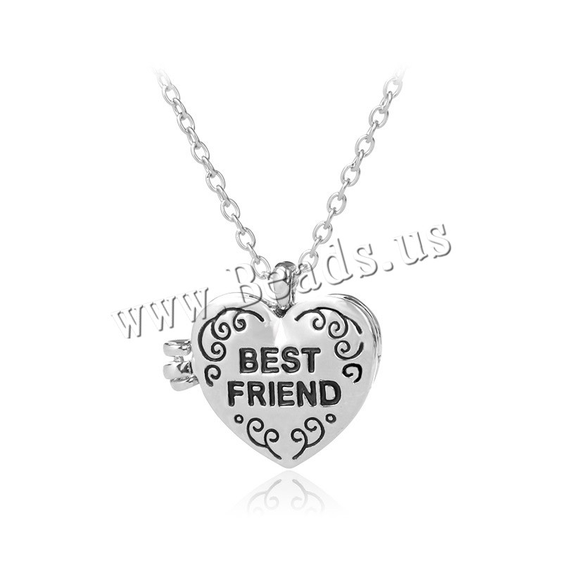 Zinc Alloy Jewelry Necklace 1.9lnch extender chain Heart word best friend silver color plated oval chain & woman & enamel nickel lead & cadmium free 27x25mm Sold Per Approx 17.7 Inch Strand