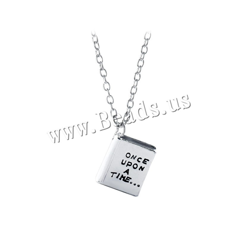 Zinc Alloy Jewelry Necklace 1.9lnch extender chain Book silver color plated oval chain & letter pattern & woman & enamel nickel lead & cadmium free 13x15x4mm Sold Per Approx 17.7 Inch Strand