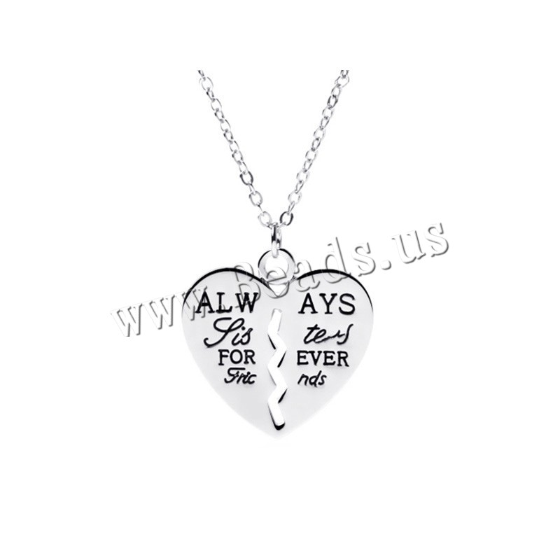 Buy Zinc Alloy Jewelry Necklace 1.96 lnch extender chain Heart platinum color plated oval chain & letter pattern & woman & enamel nickel lead & cadmium free 26mm Sold Per 17.7 Inch Strand