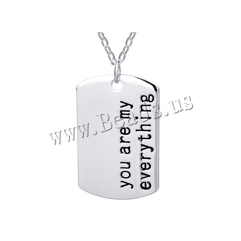 Buy Unisex Necklace Zinc Alloy 1.96 lnch extender chain platinum color plated oval chain & letter pattern & enamel nickel lead & cadmium free 29x19mm Sold Per Approx 17.7 Inch Strand