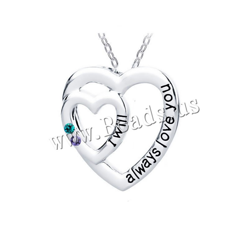 Buy Zinc Alloy Jewelry Necklace 1.96 lnch extender chain Heart platinum color plated oval chain & letter pattern & woman & enamel & rhinestone nickel lead & cadmium free 25mm Sold Per Approx 17.7 Inch Strand