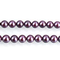 Südsee Muschelperlen, rund, violett, 6mm, Bohrung:ca. 0.7mm, ca. 64PCs/Strang, verkauft per ca. 16 ZollInch Strang