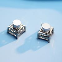 Zinklegierung Magnetische Ohrstecker, mit kubischer Zirkonia, Messing Stecker, Quadrat, Platinfarbe platiniert, verschiedene Größen vorhanden & für Frau, frei von Nickel, Blei & Kadmium, verkauft von Paar