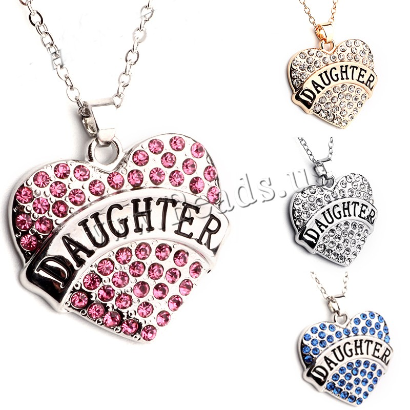 Buy Zinc Alloy Jewelry Necklace 1.96 lnch extender chain Heart word daughter plated oval chain & woman & rhinestone colors choice nickel lead & cadmium free 23x25mm Sold Per Approx 17.7 Inch Strand