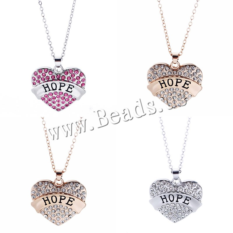 Buy Zinc Alloy Jewelry Necklace 1.96 lnch extender chain Heart word hope plated oval chain & woman & rhinestone colors choice nickel lead & cadmium free 23x25mm Sold Per Approx 17.7 Inch Strand