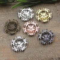 Messing Perlenkappe, Blume, plattiert, keine, frei von Nickel, Blei & Kadmium, 32mm, 50PCs/Tasche, verkauft von Tasche