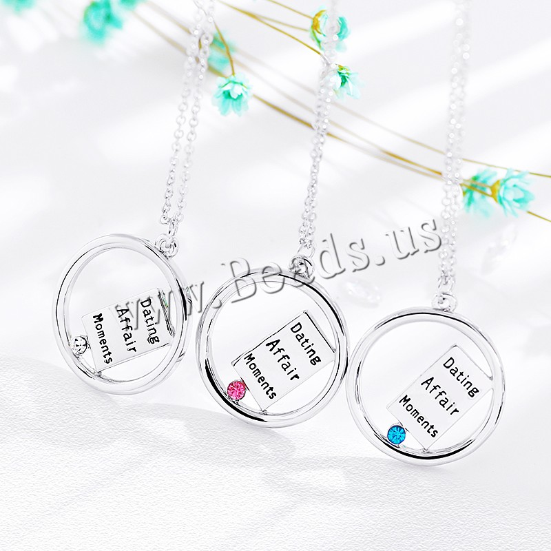 Buy Zinc Alloy Jewelry Necklace 1.96 lnch extender chain platinum color plated oval chain & letter pattern & woman & rhinestone colors choice nickel lead & cadmium free 25x27mm Sold Per Approx 17.7 Inch Strand