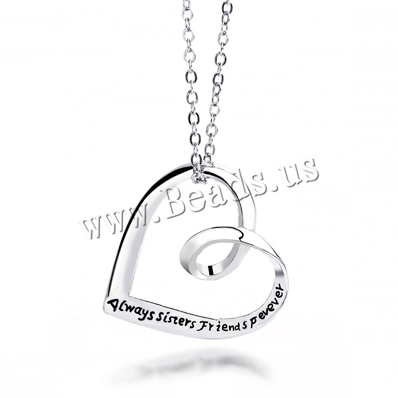 Buy Zinc Alloy Jewelry Necklace 1.96 lnch extender chain Heart plated oval chain & letter pattern & woman colors choice nickel lead & cadmium free 23x24mm Sold Per Approx 17.7 Inch Strand