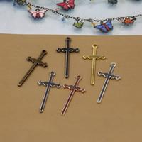 Messing Kreuz Anhänger, plattiert, keine, frei von Nickel, Blei & Kadmium, 40x17mm, Bohrung:ca. 1.5mm, 50PCs/Tasche, verkauft von Tasche