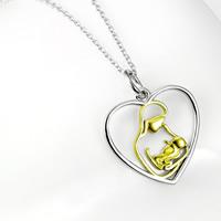 Sterling Silber Halsketten, 925 Sterling Silber, Herz, plattiert, Oval-Kette & für Frau & zweifarbig, 19x23.2mm, 1.2mm, verkauft per ca. 18 ZollInch Strang