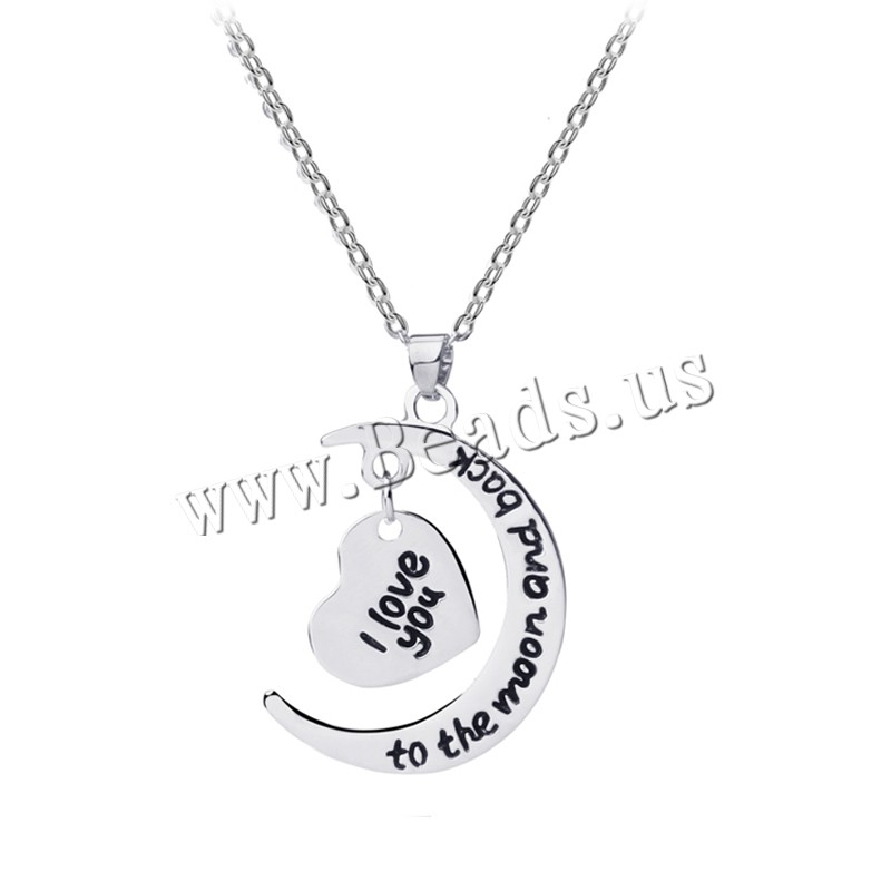 Buy Zinc Alloy Jewelry Necklace 1.96 lnch extender chain platinum color plated oval chain & letter pattern & woman nickel lead & cadmium free 30x11mm Sold Per Approx 17.7 Inch Strand