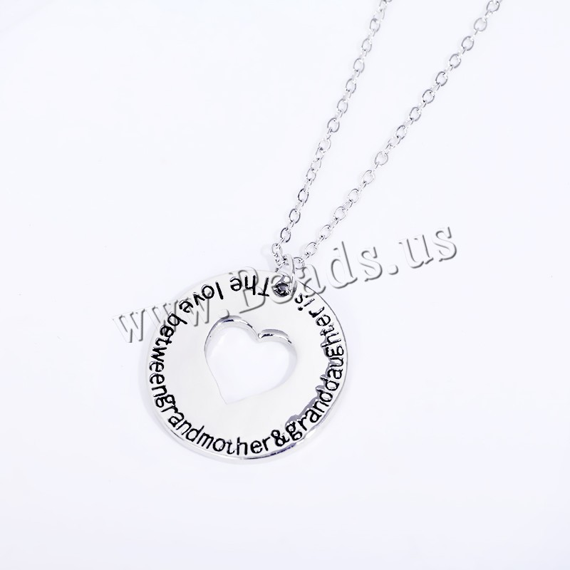 Buy Zinc Alloy Jewelry Necklace 1.96 lnch extender chain Flat Round platinum color plated oval chain & letter pattern & woman & enamel nickel lead & cadmium free 24mm Sold Per Approx 17.7 Inch Strand