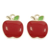 Zinklegierung Obst Anhänger, Apfel, goldfarben plattiert, Emaille, frei von Blei & Kadmium, 11.50x14.50x3mm, Bohrung:ca. 1.5mm, 100PCs/Tasche, verkauft von Tasche