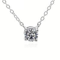 Sterling Silber Halsketten, 925 Sterling Silber, flache Runde, Oval-Kette & für Frau & mit kubischem Zirkonia, 7.5x7.8mm, 6mm, 1.5mm, verkauft per ca. 18 ZollInch Strang