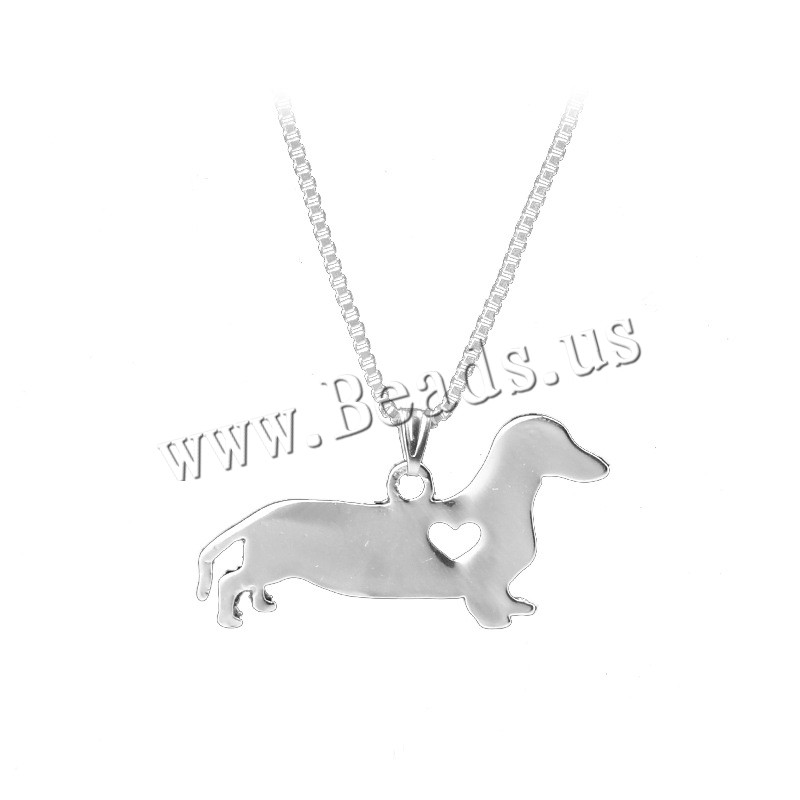Buy Zinc Alloy Jewelry Necklace 1.9lnch extender chain Dog silver color plated box chain & woman nickel lead & cadmium free 35x18mm Sold Per Approx 17.7 Inch Strand