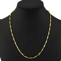 Messingkette Halskette, Messing, goldfarben plattiert, Bar-Kette, frei von Nickel, Blei & Kadmium, 3mm, verkauft per ca. 17.5 ZollInch Strang
