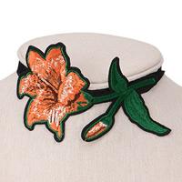 Stickerei Choker, Stoff, mit Zinklegierung, mit Verlängerungskettchen von 6cm, Blume, farbenfroh, 90mm, verkauft per ca. 12.5 ZollInch Strang