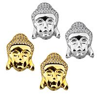 Buddhistische Perlen, Messing, Buddha, plattiert, mit Strass, keine, frei von Nickel, Blei & Kadmium, 12x15x8mm, Bohrung:ca. 2x1mm, 10PCs/Menge, verkauft von Menge