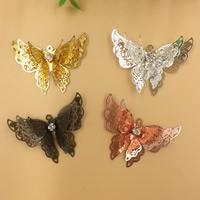 Strass Messing Anhänger, mit Strass, Schmetterling, plattiert, keine, frei von Nickel, Blei & Kadmium, 25x35mm, Bohrung:ca. 1.5mm, 20PCs/Tasche, verkauft von Tasche