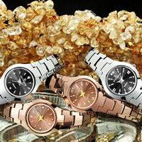 ONTHEEDGE®-Frauen-Schmuck-Uhren, Wolfram Stahl, mit Glas & Edelstahl, plattiert, 30 m wasserdicht & verschiedene Muster für Wahl & für Frau & mit Strass, 24x8mm, Länge:ca. 6.8 ZollInch, verkauft von PC