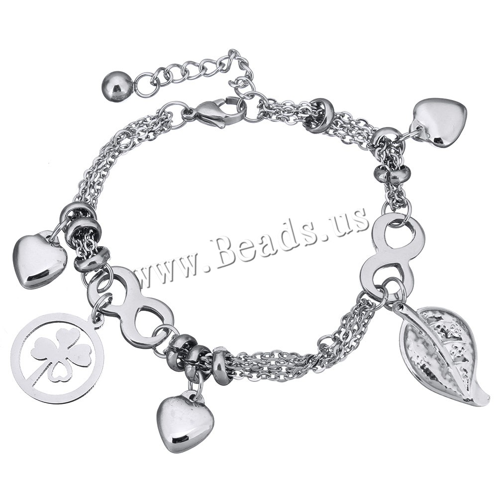 Buy Stainless Steel Jewelry Bracelet 1.5lnch extender chain charm bracelet & oval chain & woman & multi-strand original color 16x19mm 13x23mm Sold Per Approx 7 Inch Strand