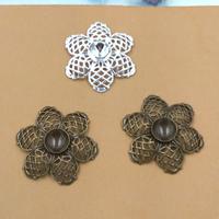 Messing Schmuckverbinder Einstellung, Blume, plattiert, keine, frei von Nickel, Blei & Kadmium, 26mm, Innendurchmesser:ca. 8mm, 20PCs/Tasche, verkauft von Tasche